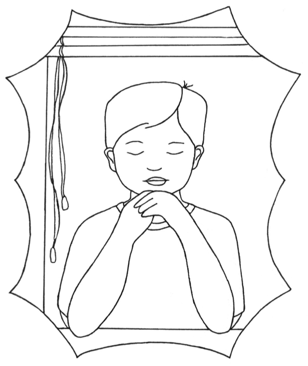 Boy Praying in Window